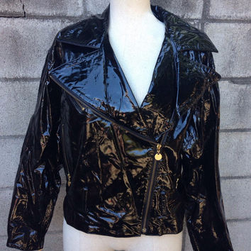 Motorcycle Leather Jacket Vintage 1980s Vakko Wet Look Patent