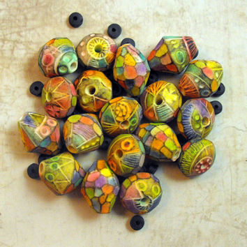 3 Artisan Beads Handmade from Polymer Clay