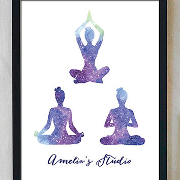 Purple Yoga Poses Personalized Print