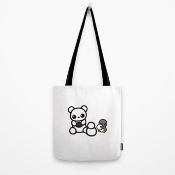 Penguin and Polar Bear Build a Snowman Tote Bag by Rêver De Faire