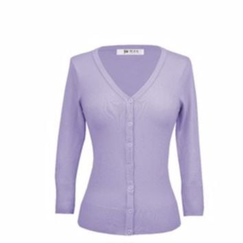 MAK Plus Size Classic V Neck Button Down Cardigan Sweater Lilac
