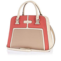 Coral contrast panel structured bag
