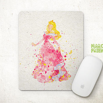 Sleeping Beauty Mouse Pad, Princess Aurora Watercolor Art, Mousepad, Home Art, Gifts Idea, Art Print, Desk Decor, Disney Accessories