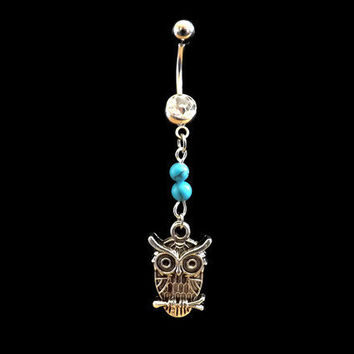 Owl Belly Ring with Turquoise Bead and White Rhinestone