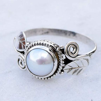 Pearl ring,Pearl Stone, silver ring,  silver Pearl  ring, stone ring, 92.5 sterling silver, Natural Pearl  stone Silver Ring  RNSLPR9