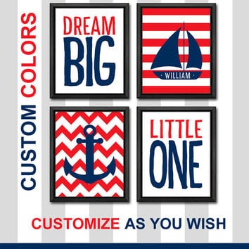 nautical boy wall art striped kids decor sailor nursery baby name art nautical boy nursery dream big nursery custom kids room decor boy gift