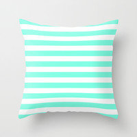 Mint Stripe Throw Pillow by Beautiful Homes