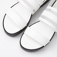 Mesh-Paneled Faux Leather Sandals