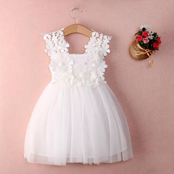 XMAS Baby Girls Party Lace Tulle Flower Gown Fancy Dridesmaid Dress Sundress Girls Dress