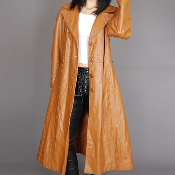 Straight To The Top Avanti Leather Trench Coat
