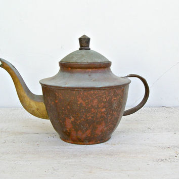 Antique Copper Teapot, Retro Oriental serving tableware, Farmhouse, Cottage chic, Housewarming gift, Mid century home, Restaurant dispaly
