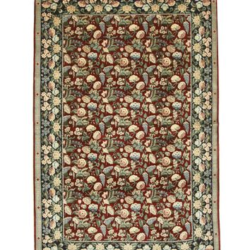 EORC Hand-knotted Wool Red Traditional Floral Pak-Persian Rug