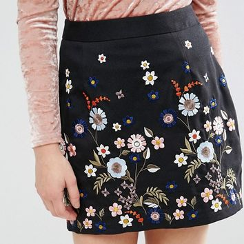 New Look Petite Embroidered A Line Mini Skirt at asos.com