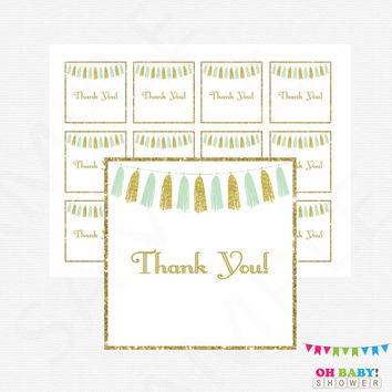 Mint and Gold Baby Shower Thank You Tags, Mint Gold Favors Cards, Gift Tags, Baby Shower Decor, Neutral Baby Shower, Baby Thank Yous, TASMG