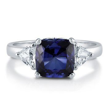 Cushion Sapphire Cubic Zirconia Sterling Silver 3-Stone Ring 2.94 Ct #r681-sp