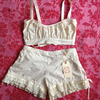 Organic cotton Bralette and  shorty Bloomer set with by THREADBEAT