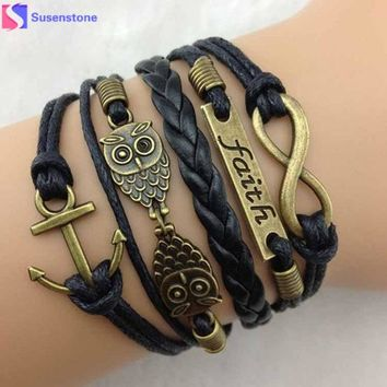 Rope Bracelets Wrap Bracelets Bangle Vintage Braided Anchors Rudder Metal Leather Bracelet Multilayer