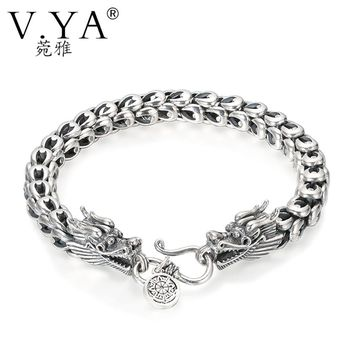 V.YA Punk Men Jewelry Dragon Bracelets 100% Thai Silver Bracelets for Men Heavy Thick Punk Bracelet