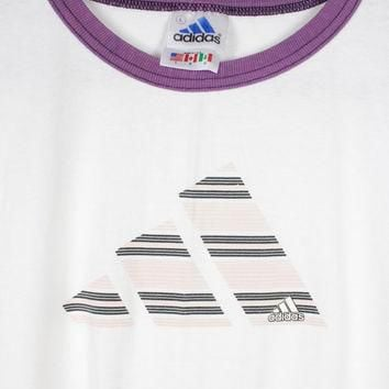 90s ADIDAS ringer tee - vintage 1990s t-shirt - retro athletic - white pink purple