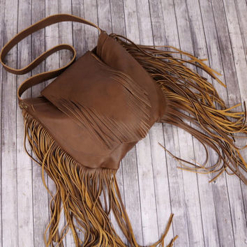 Large Fringe Brown Leather Tote / Leather Fringe Hobo Bag / Brown Leather Fringe Hobo Bag / Fringe Leather Handbag