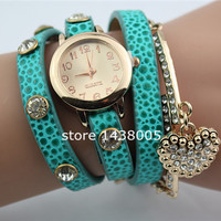 Women's Luxury Heart Pendant Bracelet Wrist Watch
