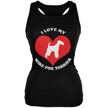 Valentines I Love My Wire Fox Terrier Black Juniors Soft Tank Top