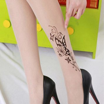 Women Tights Summer Flower Rose Butterfly Tattoo Crystal Silk Fashion Sexy Tattoo Print Slim Tights For Women