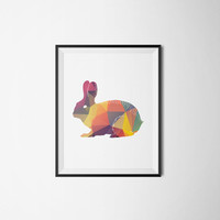 Printable poster, Hello poster, Wall art, Printable wall art, Animal poster, Instant download, Abstract poster, Summer poster, Rabbit poster