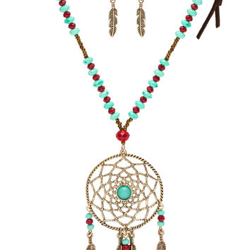 Joya Dreamcatcher Necklace Set - Burgundy