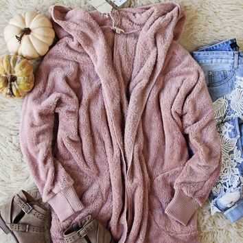 Softest Teddy Hoodie in Mauve