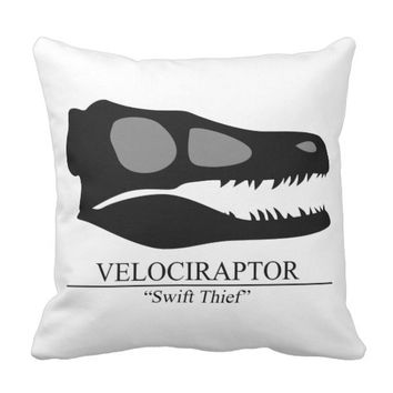 Velociraptor Skull Throw Pillow
