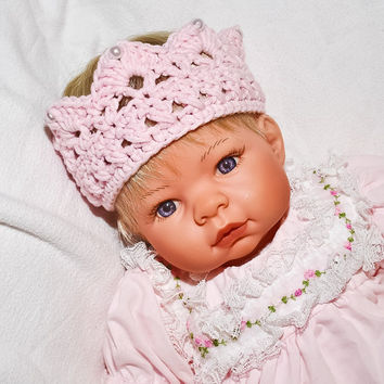 Pink Baby crown baby photography prop by BitofWhimsyCrochet