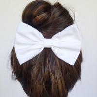 Hair Bow Clip Handmade Accessories Women Teen girls back to school White uniform