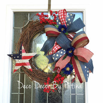 4th of July Wreath - 4th of July Grapevine Wreath - Patriotic Wreath - Patriotic Grapevine Wreath - Fourth of July Wreath - Patriotic Decor