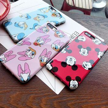 Silicone IMD Mickey Mouse Case for iPhone XS MAX 6s 7 8 Plus funda Pink Soft TPU Daisy Duck Cover for Coque iPhone7 7Plus Case