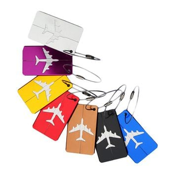 5pcs( Luggage Tags suitcase Tags 7 in 1 aluminum airplane pattern