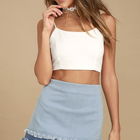 Like a Dream Light Wash Denim Mini Skirt
