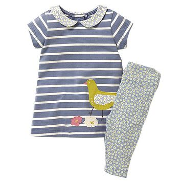 Girls Set with Applique Animal Dress & Leggings 2017 Brand Cotton Children Clothing Kids Summer Clothes Sets Baby Girl Outfit