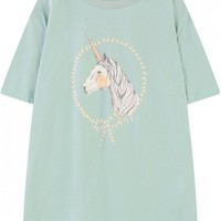 Unicorn Print Loose Round Neck Short Sleeve Tunic Tee