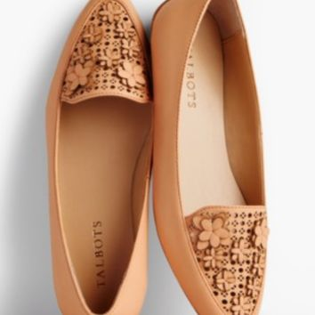 Francesca Flower-Topped Perforated Driving Flats | Talbots