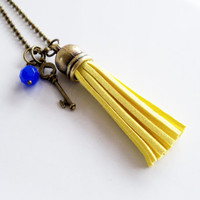 Yellow Leather Tassel Necklace - You Choose Bead And Charm - Suede Fringe Necklace - Lemon Yellow Leather Fringe - Suede Tassel Jewelry