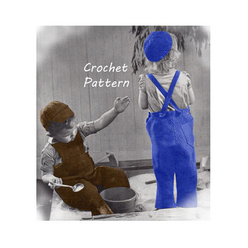 Toddler Boy or Girl Overalls, Calot, Visor Cap Crochet Pattern Size 2, 4, 6 ||Vintage 1940's ||Reproduction PDF Instant Download 5129-175