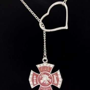 Maltese Cross Love My Fireman Firefighters Wife Girl Fire Heart Lariat Necklace