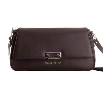 Corte-Saffiano Leather Shoulder Bag-Chocolate