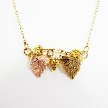Black Hills Gold Necklace, Rose Gold Leaf, 10K Gold Grape Leaves Vintage 1980s 1990s Signed BHG Jewelry Double Leaves Pendant