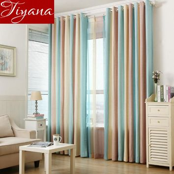 Colored Stripe Curtains Voile Window Screen Yarn Panel Modern Simple Living Room Bedroom Curtains Cloth Tulle Linen T&391 #20