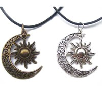 """1pcs Antique Bronze Silver Crescent Moon/Sun Charm Pendant Wax Cord End Lobster Clasp Necklace For Boho Hippy 18""""+2""""Chain"""