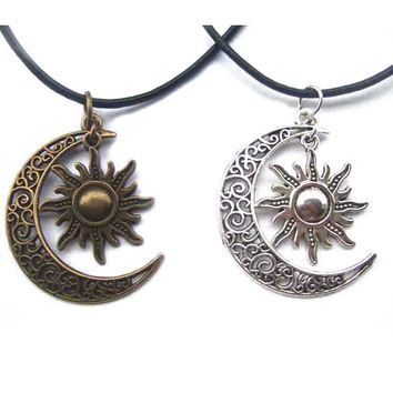 "1pcs Antique Bronze Silver Crescent Moon/Sun Charm Pendant Wax Cord End Lobster Clasp Necklace For Boho Hippy 18""+2""Chain"