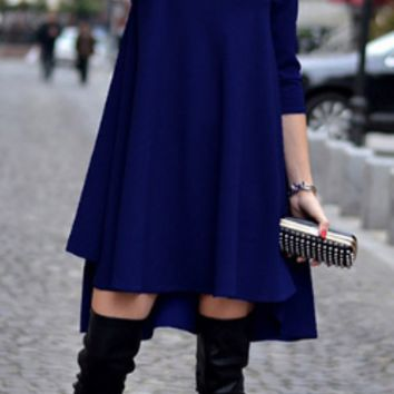 Solid Loose Long Sleeve Swing Dress