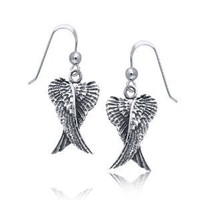 Bling Jewelry Angel Wings Dangle Earrings 925 Sterling Silver